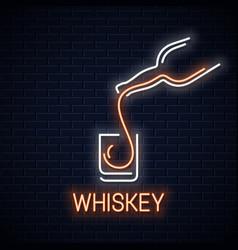 Whiskey glass neon banner bottle of whisky neon vector