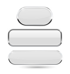 white glass 3d buttons with chrome frame vector image