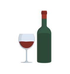 wine bottle glass flat design icon vector image