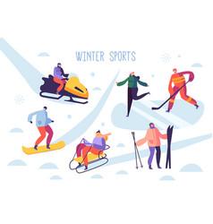 winter sport activities with characters skier vector image