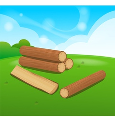 Wooden logs isolated objects vector