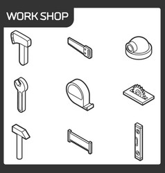 Work shop outline isometric icons vector
