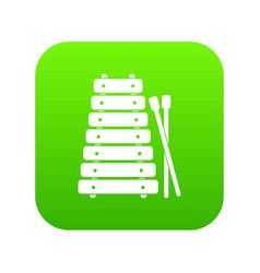 xylophone and sticks icon digital green vector image