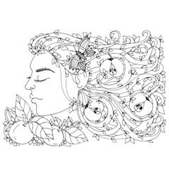Zen Tangle girl woman with vector image