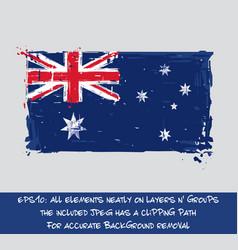 australian flag flat - artistic brush strokes and vector image vector image