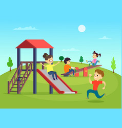funny playing kids on playground vector image