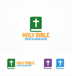 Holy bible book logo different color vector
