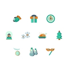 New Year party flat style icons set vector image