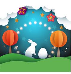 rabbit easter cartoon paper vector image