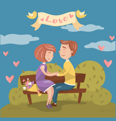 young couple in love sitting together on the bench vector image