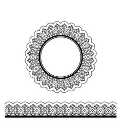 black decorative border and circle frame vector image