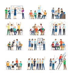 office workers collaboration collection on white vector image