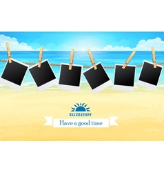seashore with frames for photos vector image