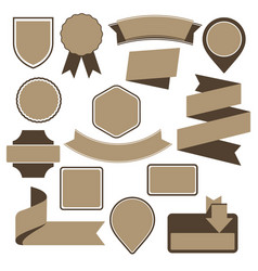 set of cardboard emblems badges and ribbons vector image vector image