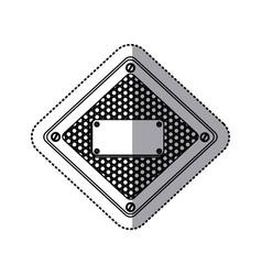 sticker silhouette diamond metallic frame with vector image vector image