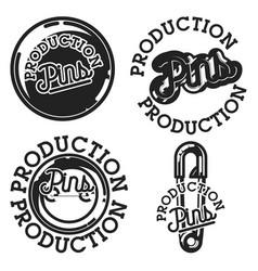 vintage pins production emblems vector image