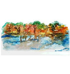 Watercolor nature landscape with lake and trees vector image vector image
