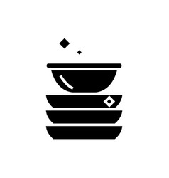 dishes icon black sign on vector image