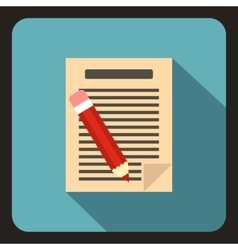 Document with pencil icon flat style vector image