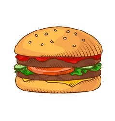 Hand drawn hamburger background vector image