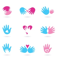 hands and love vector image vector image