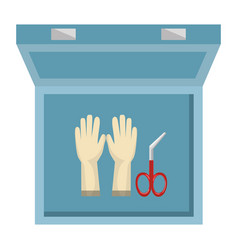 medical kit with surgical gloves vector image