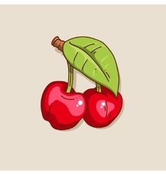 Two cute hand-drawn cherry vector image