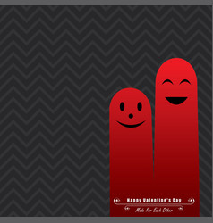valentine card with cute finger face vector image vector image