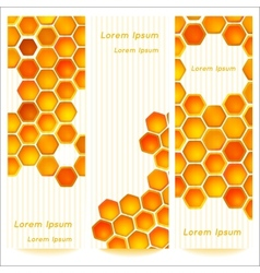 Vertical banners with honeycomb cells on vintage vector image