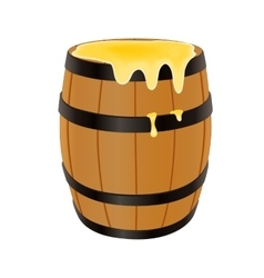 Wooden barrel with honey vector image vector image
