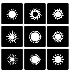 black sun icon set vector image