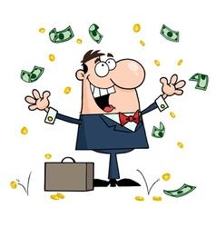 Businessman Standing Under Falling Money vector image vector image