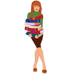 Cartoon young woman holding stack of books vector image vector image