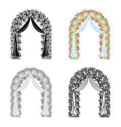 floral wedding arch icon in cartoon style isolated vector image vector image
