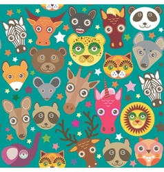 Set of funny animals muzzle seamless pattern Teal vector image