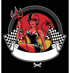 sexy devil wearing motorcycle helmet vector image vector image