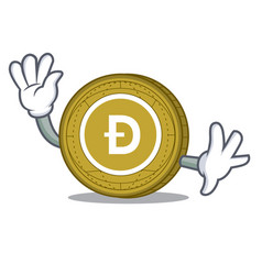 waving dogecoin character cartoon style vector image vector image