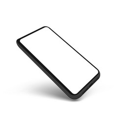 3d flying clear smartphone with blank white screen vector image