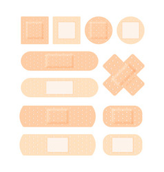adhesive plaster medical set antiseptic patch vector image