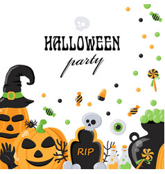 background for halloween party with objects vector image