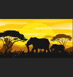 Background scene with silhouette elephants in the vector