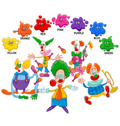 Basic colors educational page with clowns vector