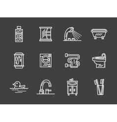 Bath objects white line icons collection vector image