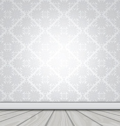 Blank interior with wallpaper and wood floor 1503 vector