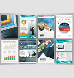 blue business brochure template with infographic vector image