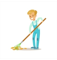 Boy Collecting Fallen Leaves With Rake Helping In vector