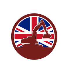 British mechanical digger union jack flag icon vector