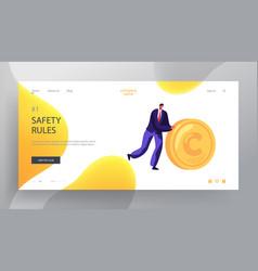 Business man rolling gold coin website landing vector