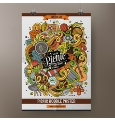 Cartoon doodles picnic poster vector