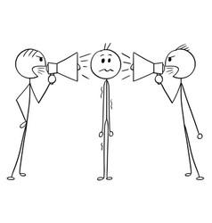 Cartoon of man or businessman between two men vector